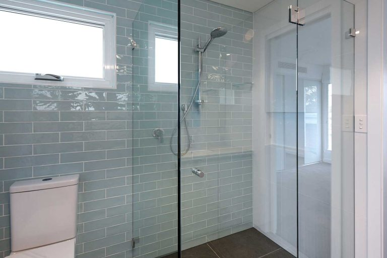 One of the five bathrooms in a large new home built by Diamond & Lambert on Sydney's north side.
