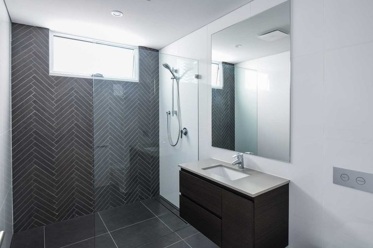 One of the five bathrooms in a large new home on Sydney's north side.