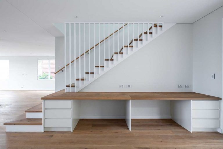 The living areas of this new home in the northern suburbs of Sydney features built-in joinery.