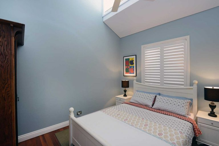 The guest bedroom in the extension built by Diamond and Lambert in Manly on Sydney's northern beaches.