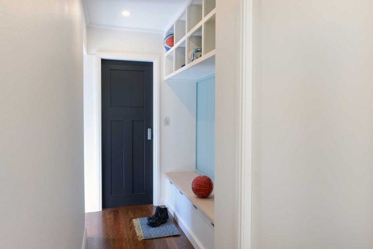 The mud room in an extension of a residence in Manly, New South Wales.