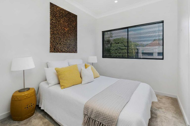 A bedroom in the renovated Mosman terrace in Sydney's northern suburbs.