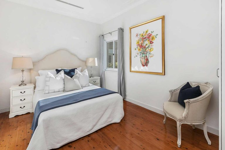 The master bedroom of the updated Mosman terrace on the north side of Sydney.