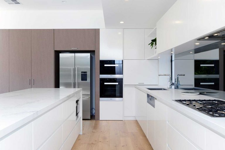 The new kitchen in the Naremburn residence is sleek and contemporary.
