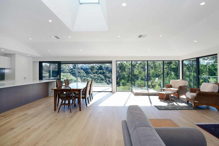 The spacious and airy living and dining areas in the renovated and extended Naremburn home.