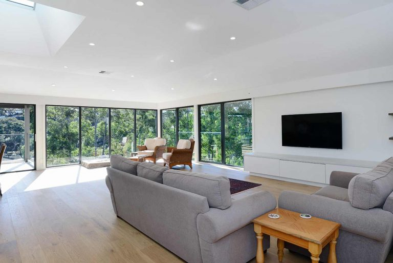 The spacious and airy living area in the renovated and extended Naremburn home.