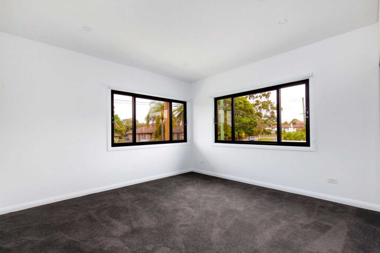 A bedroom in a new duplex on the Northern Beaches of Sydney.