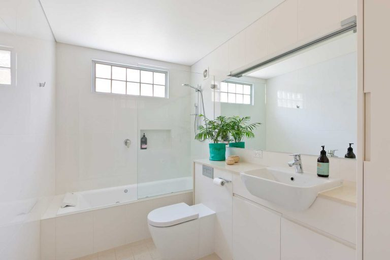 The largest of four bathrooms in an extended and renovated home in Collaroy.
