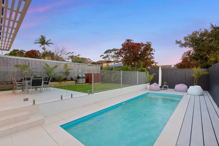 The renovation of a home in Collaroy included a new concrete swimming pool and outdoor entertaining area.