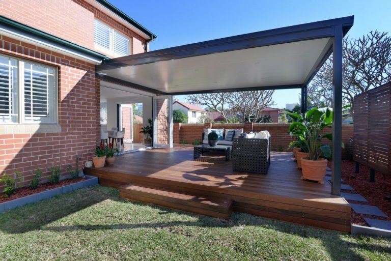 A large deck was added to the Chatswood home opening from the dining area.