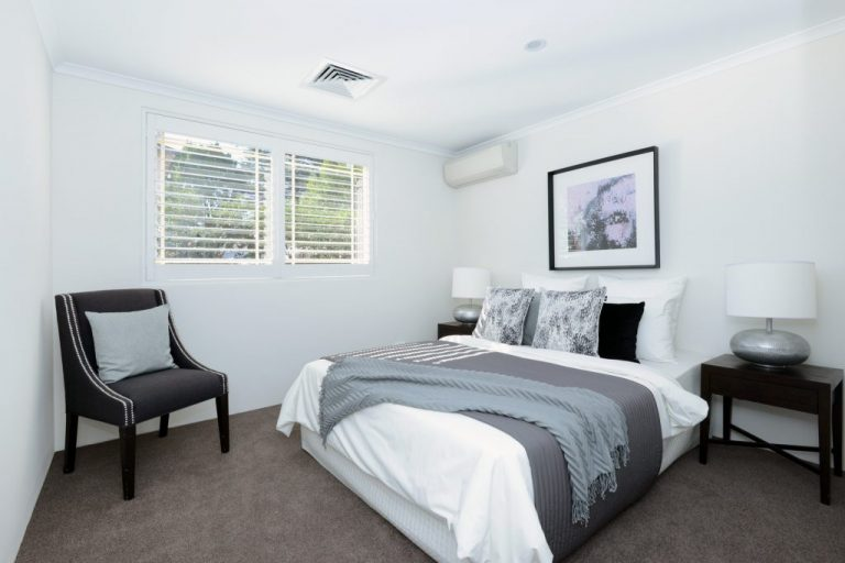 A bedroom in the Chatswood home renovated by Diamond and Lambert Builders.