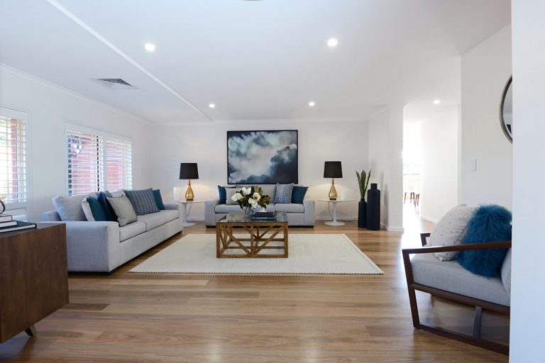 The living area of the renovated Chatswood home.
